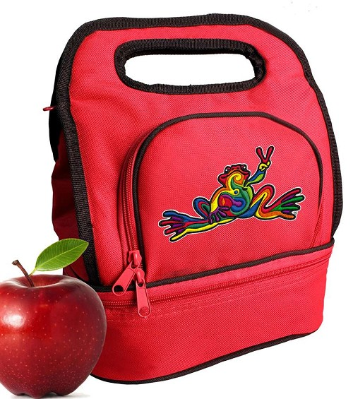 Peace Frogs Lunch Bag Red