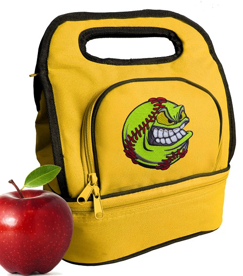 Softball Lunch Bag 2 Section Gold