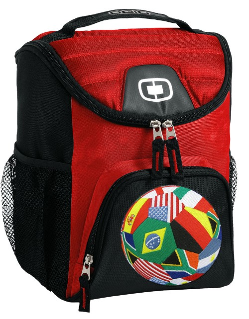 World Soccer Lunch Bag Insulated Lunch Cooler Red