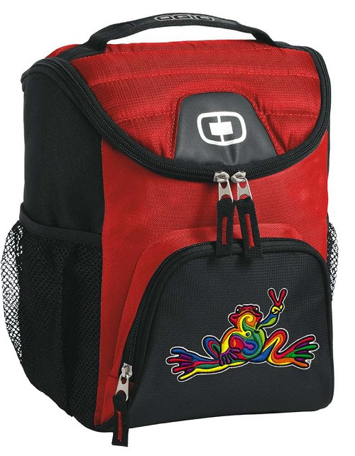 Peace Frogs Lunch Bag Insulated Lunch Cooler Red