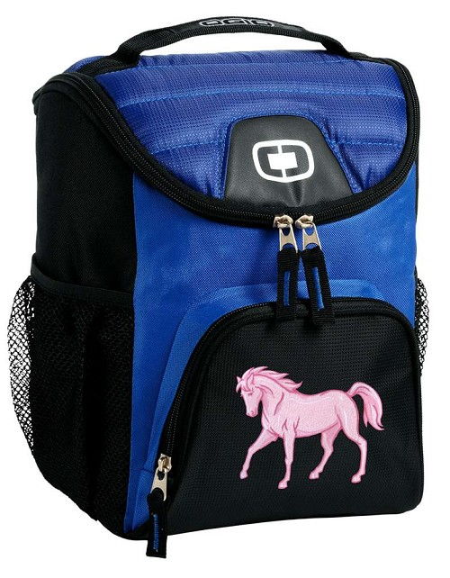 Pink Horse Lunch Bag Insulated Lunch Cooler Blue