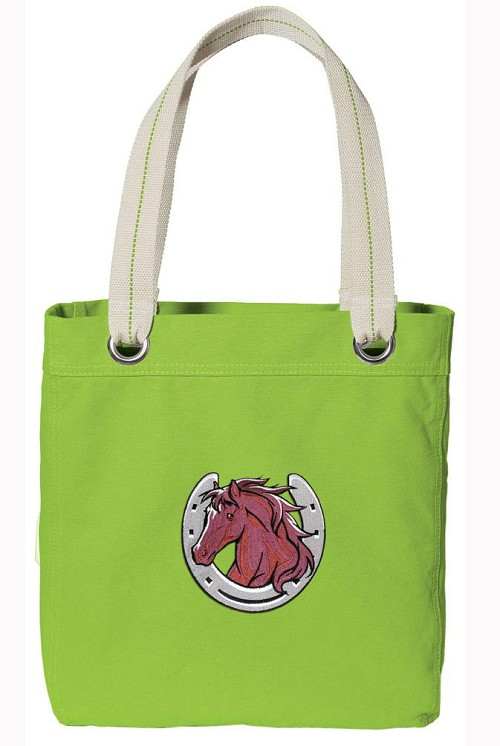 Horse Lover NEON Green Cotton Tote Bag