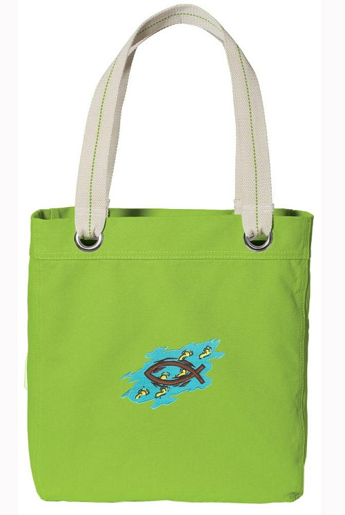 Christian NEON Green Cotton Tote Bag