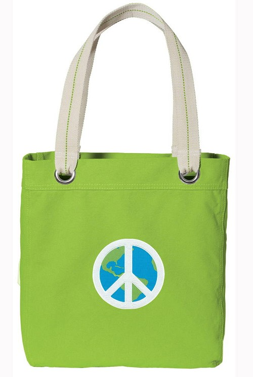 Peace Sign NEON Green Cotton Tote Bag