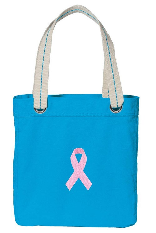 Pink Ribbon NEON BLUE Cotton Tote Bag