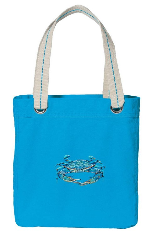 BLUE CRAB NEON BLUE Cotton Tote Bag