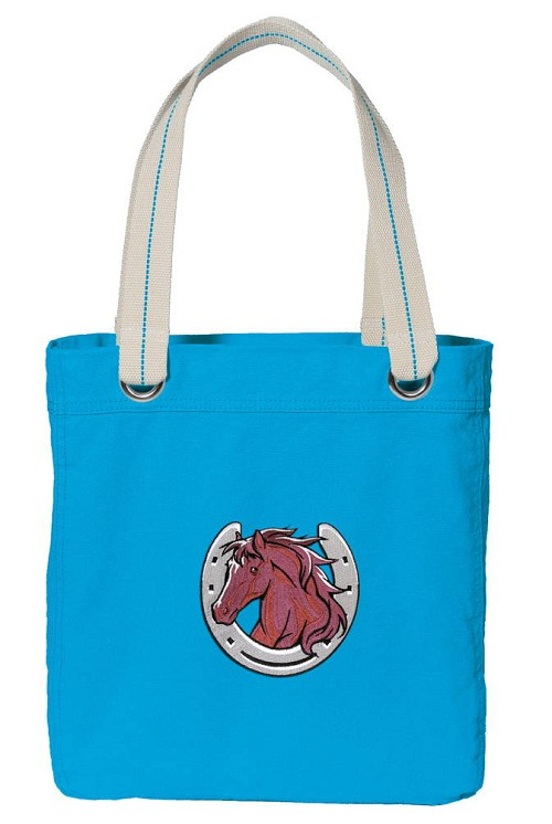 Horse Lover NEON BLUE Cotton Tote Bag