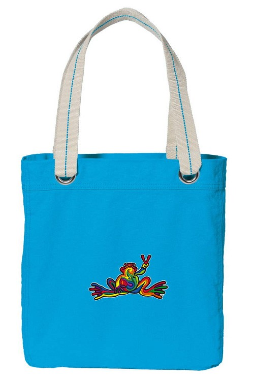 Peace Frogs NEON BLUE Cotton Tote Bag