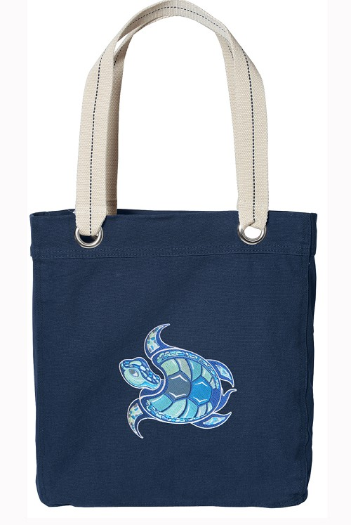 Sea Turtle Cool NAVY Cotton Tote Bag