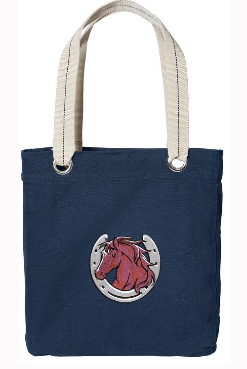 Horse Lover Navy Cotton Tote Bag