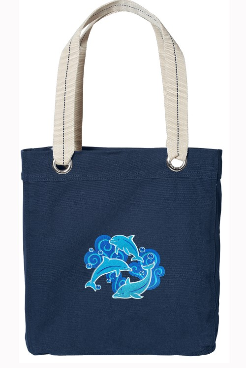 DOLPHINS Navy Cotton Tote Bag