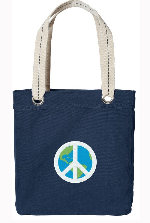 Peace Sign Navy Cotton Tote Bag