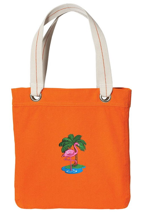 Flamingo NEON Orange Cotton Tote Bag
