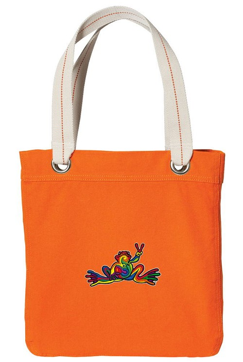 Peace Frogs NEON Orange Cotton Tote Bag