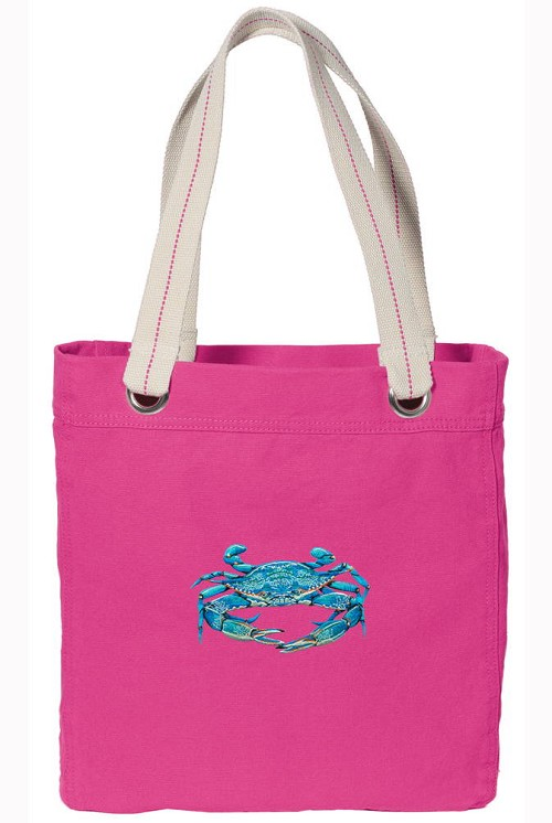 BLUE CRAB NEON PINK Cotton Tote Bag
