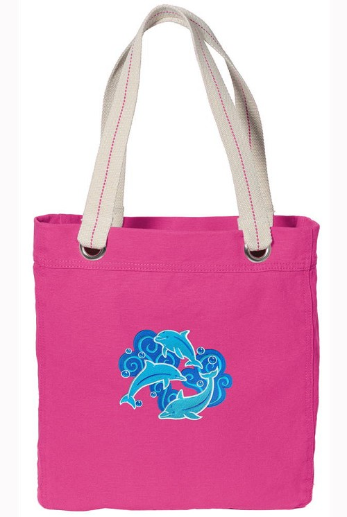 DOLPHINS NEON PINK Cotton Tote Bag