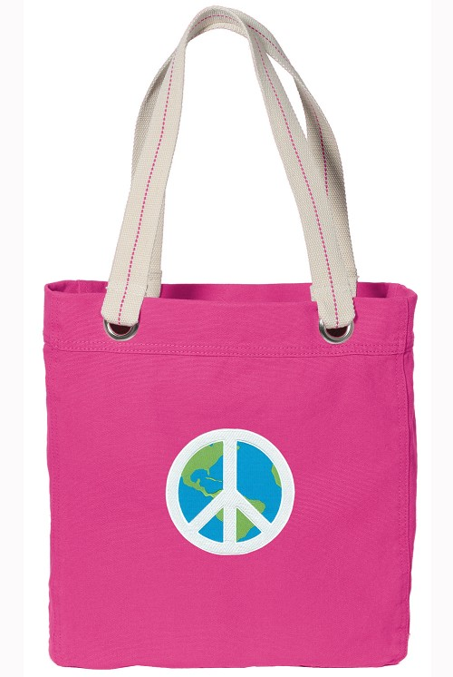Peace Sign NEON PINK Cotton Tote Bag