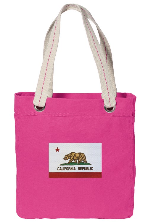 California Flag Tote Bag RICH COTTON CANVAS Pink