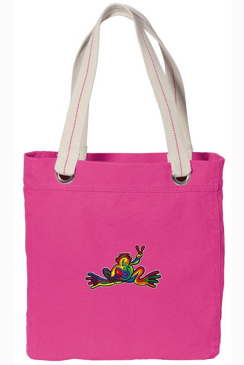 Peace Frogs NEON PINK Cotton Tote Bag
