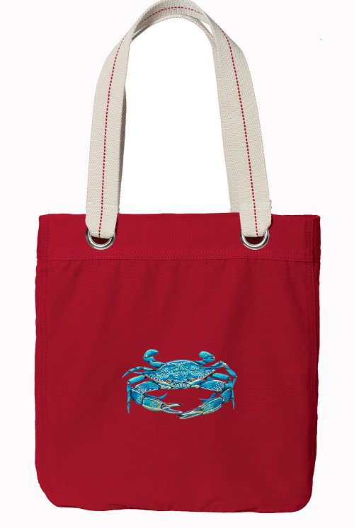 BLUE CRAB Red Cotton Tote Bag