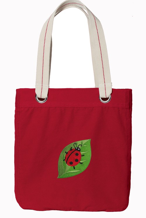 Ladybug Red Cotton Tote Bag