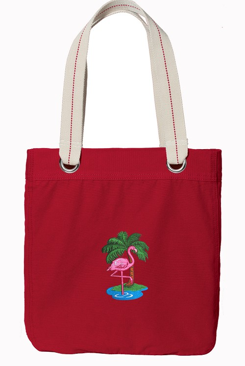 Flamingo Red Cotton Tote Bag