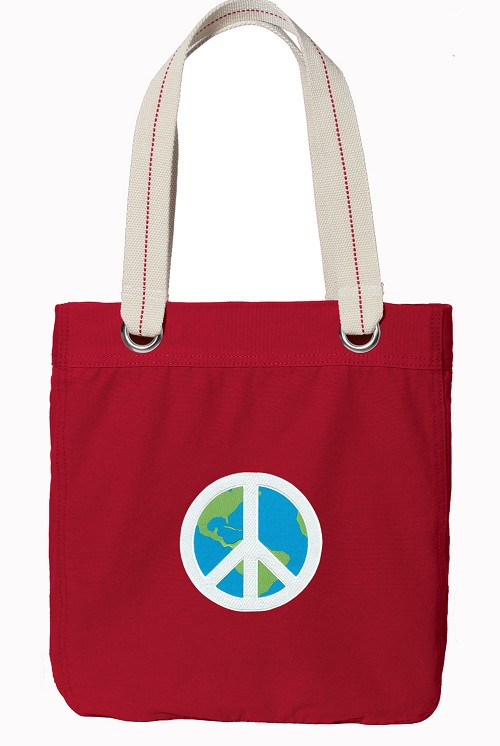 Peace Sign Red Cotton Tote Bag