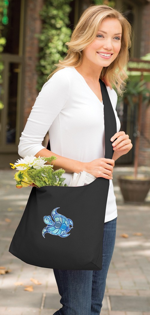Sea Turtle Tote Bag Sling Style Black