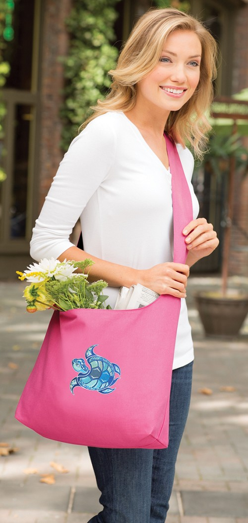 Sea Turtle Tote Bag Sling Style Pink