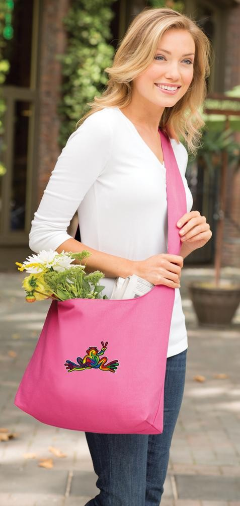 Peace Frogs Tote Bag Sling Style Pink