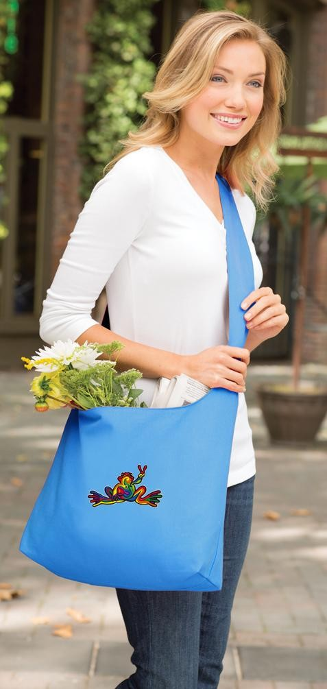 Peace Frogs Tote Bag Sling Style Turquoise