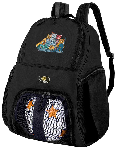 Cats Soccer Backpack or Cat Volleyball Bag for Boys or Girls