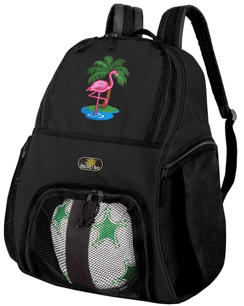 Pink Flamingo Soccer Backpack or Flamingos Volleyball Bag for Boys or Girls