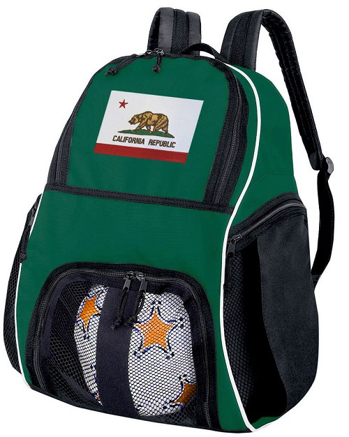 California Soccer Ball Backpack or California Flag Volleyball Bag Green for Boys or Girls