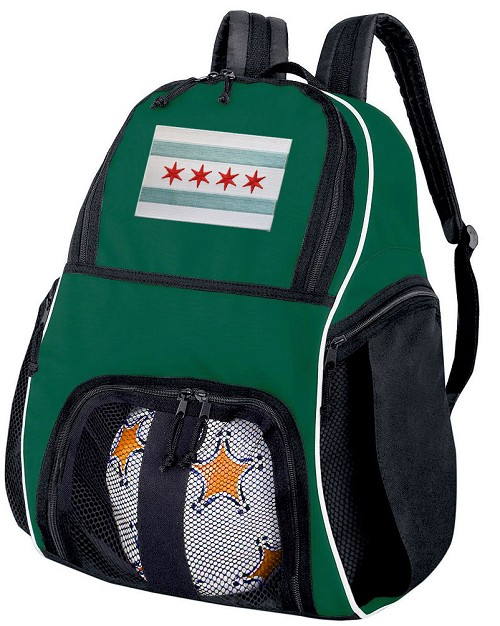 Chicago Soccer Ball Backpack or Chicago Flag Volleyball Bag Green for Boys or Girls