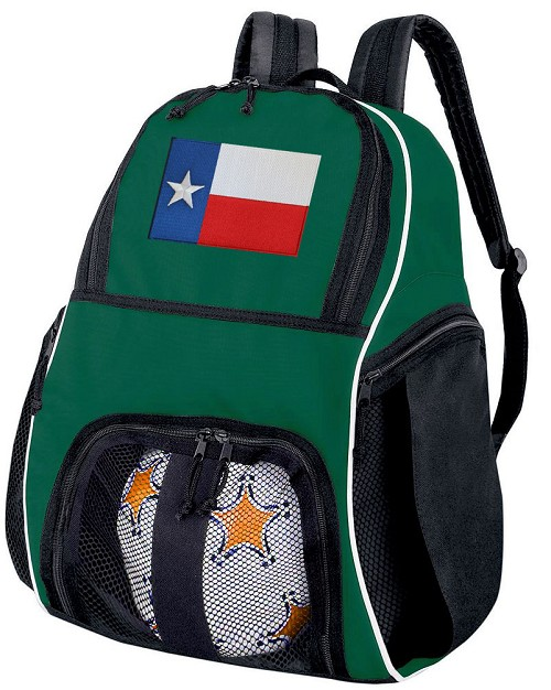 Texas Soccer Ball Backpack or Texas Flag Volleyball Bag Green for Boys or Girls