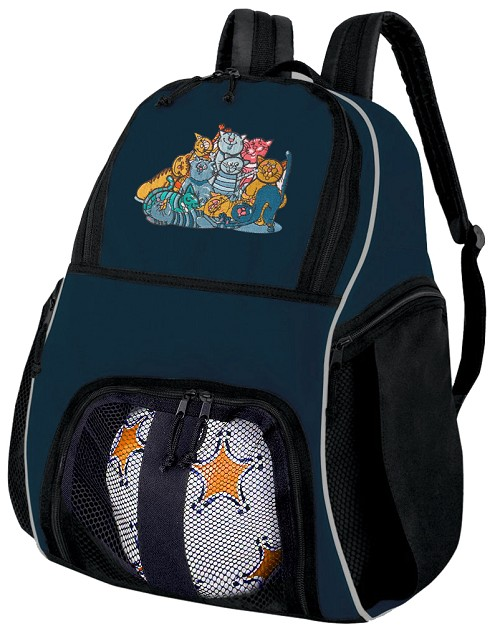 Cats Soccer Ball Backpack or Cat Volleyball Practice Gear Bag Navy