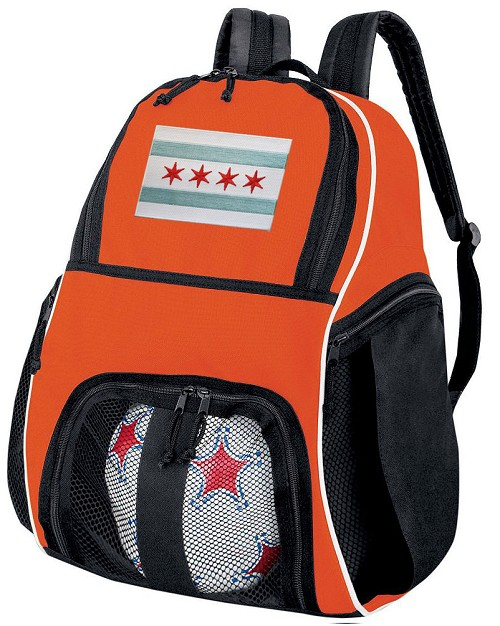 Chicago Soccer Ball Backpack or Chicago Flag Volleyball Gear Bag Orange