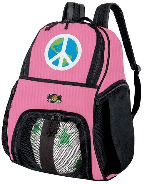 Girls Peace Sign Soccer Backpack or World Peace Volleyball Bag