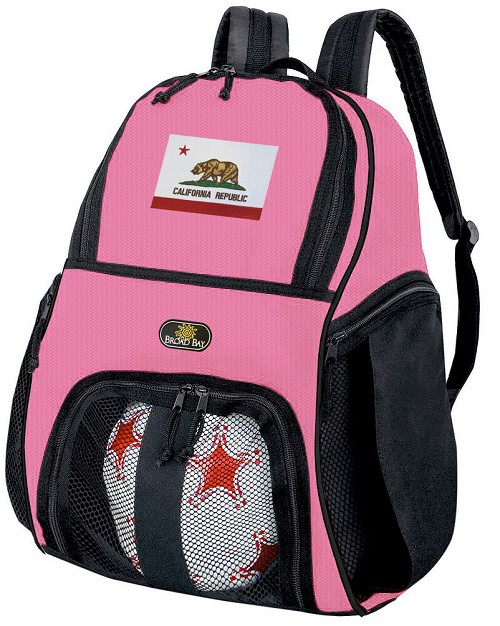 Girls California Soccer Backpack or California Flag Volleyball Bag