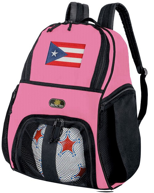 Girls Puerto Rico Flag Soccer Backpack or Puerto Rico Volleyball Bag