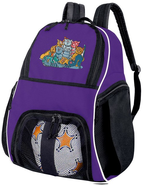 Cat Soccer Backpack or Cats Volleyball Practice Bag Purple