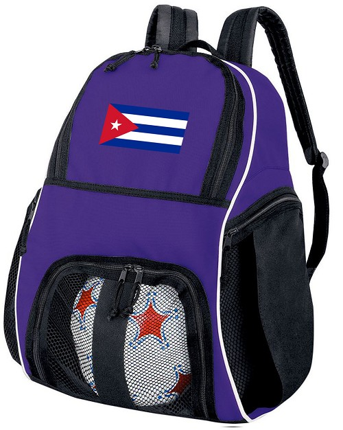 Cuban Flag Soccer Backpack or Cuba Volleyball Practice Bag Purple