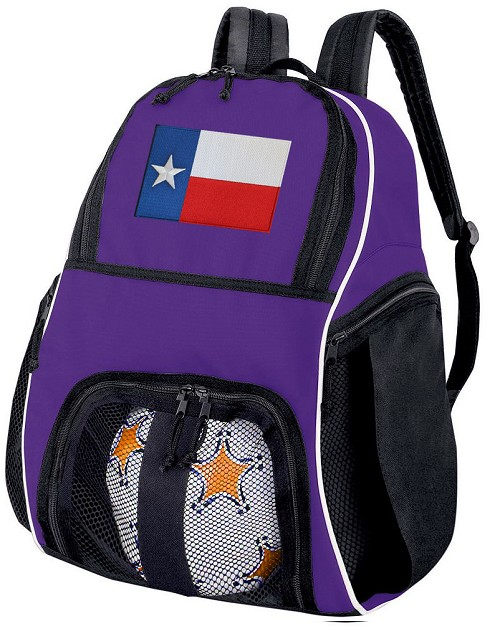 Texas Flag Soccer Backpack or Texas Volleyball Practice Bag Purple