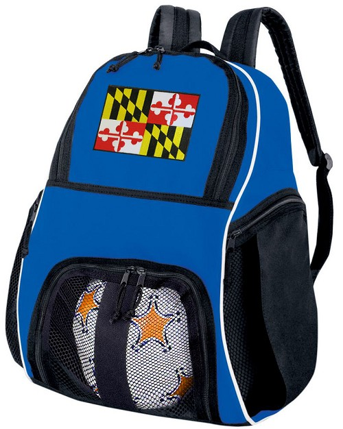 Maryland Flag Soccer Backpack or Maryland Volleyball Practice Bag Boys or Girls Blue