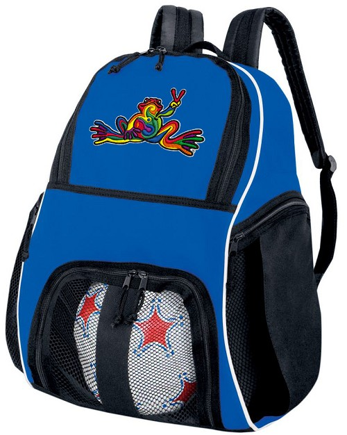 Peace Frogs Soccer Backpack Blue