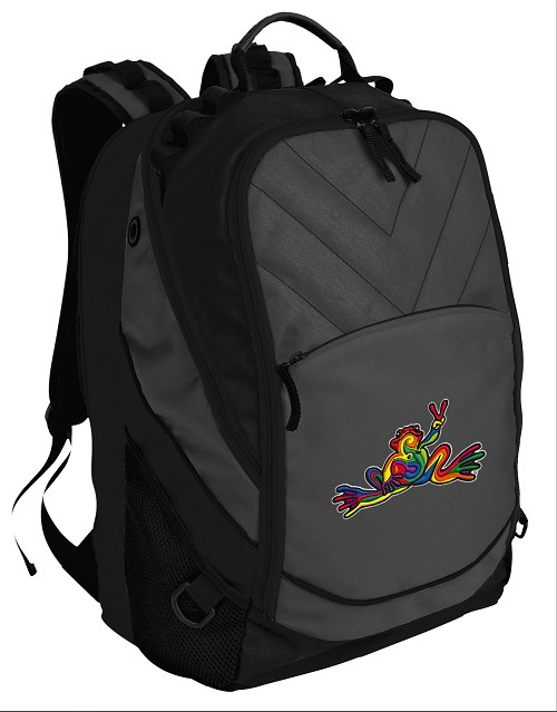 Peace Frogs Deluxe Laptop Backpack Black