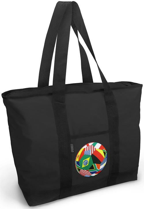 World Flag Soccer Tote Bag Black Deluxe