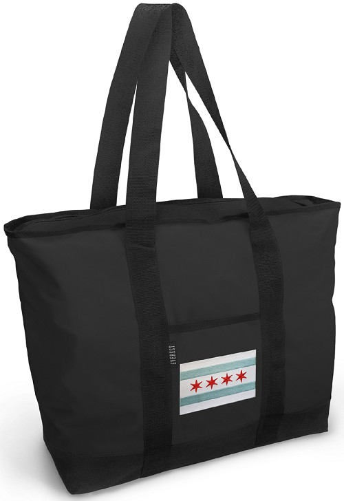 Chicago Flag Tote Bag ZIPPERED TOP