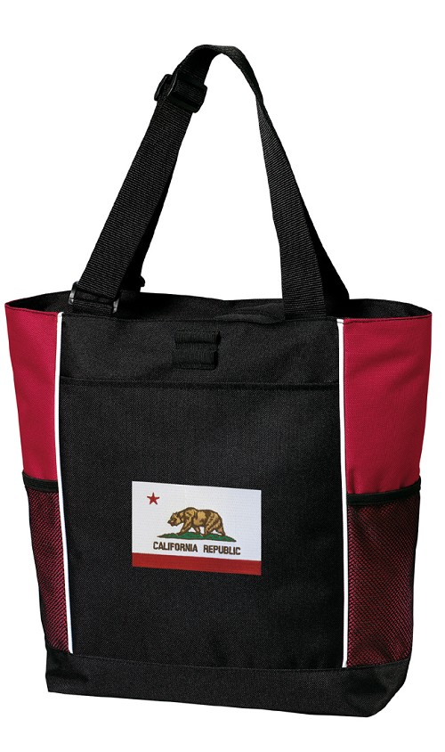 California Flag Tote Bag Red